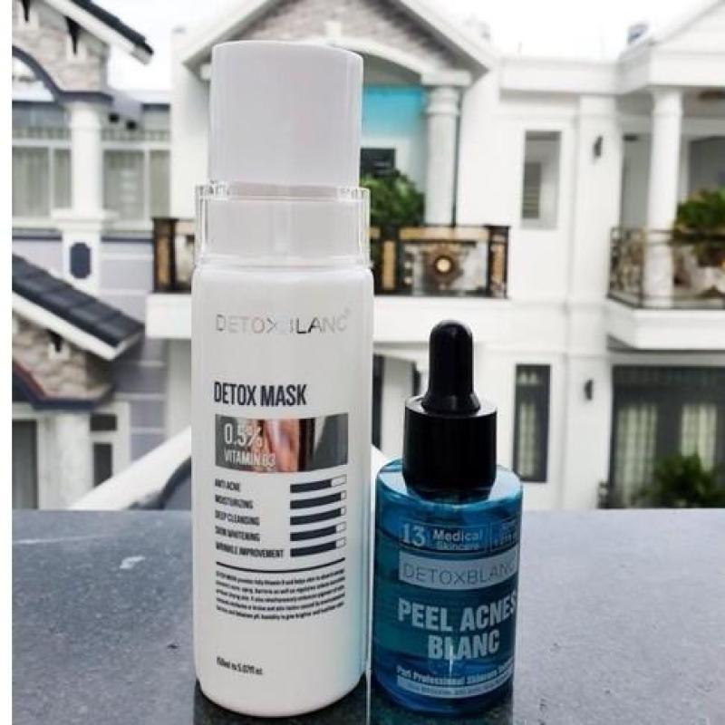 combo mặt nạ thải độc và serum mụn detox blanc nhập khẩu