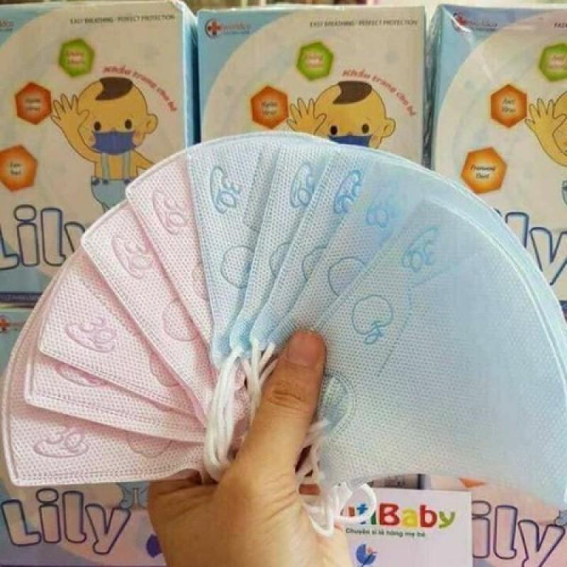 Khẩu trang y tế cho em bé,  Khẩu Trang Y Tế trẻ em [1 HÔP 10 CÁI] Khẩu trang y tế kháng khuẩn cho bé Lily giá rẻ