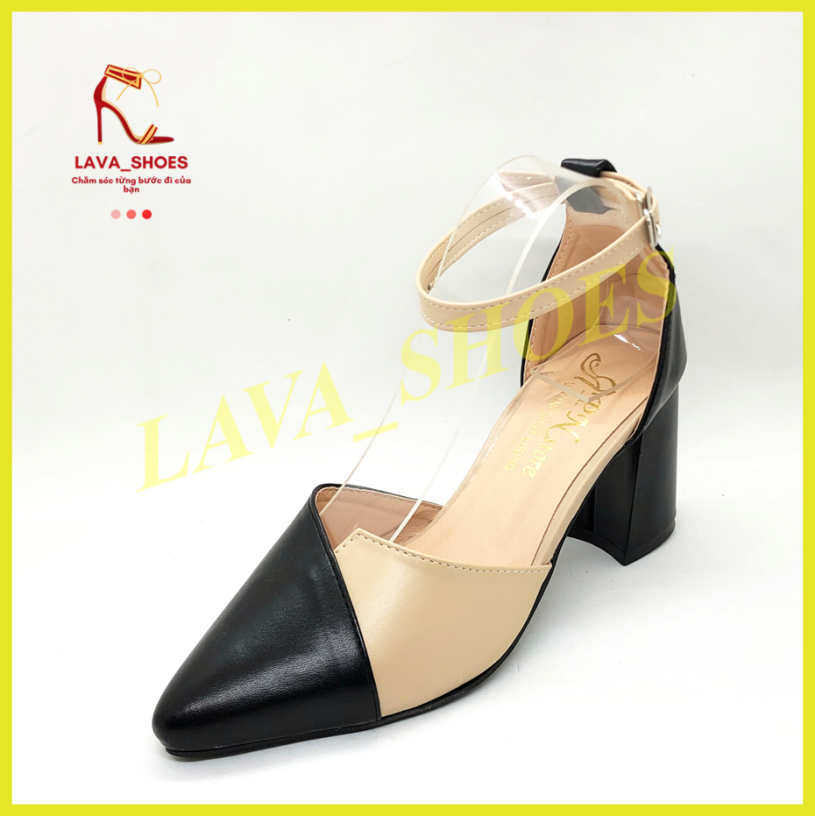 Giày cao gót 7p gót vuông da mềm kem phối nhiều màu LZ043 giá rẻ