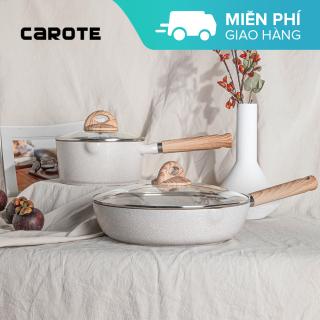 Dòng dụng cụ nấu ăn chống dính Carote Cosy Bộ Chảo chiên 28cm + Chảo nấu sốt 18cm Combo Set có nắp đậy Lớp chống dính không chứa PFOA Phù hợp cho mọi loại bếp kể cả bếp từ thumbnail