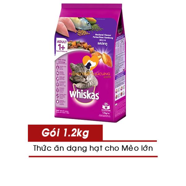Thức ăn hạt cho Mèo Lớn Whiskas gói 1.2kg - Nhiều Vị - [Nông Trại Thú Cưng]