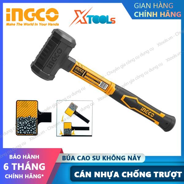 Búa nhựa 2 đầu tròn không nảy INGCO HDBM01028 2LB búa cao su 2 đầu không nảy, cán nhựa chống trượt, không tạo lửa [XSAFE] [XTOOLs]