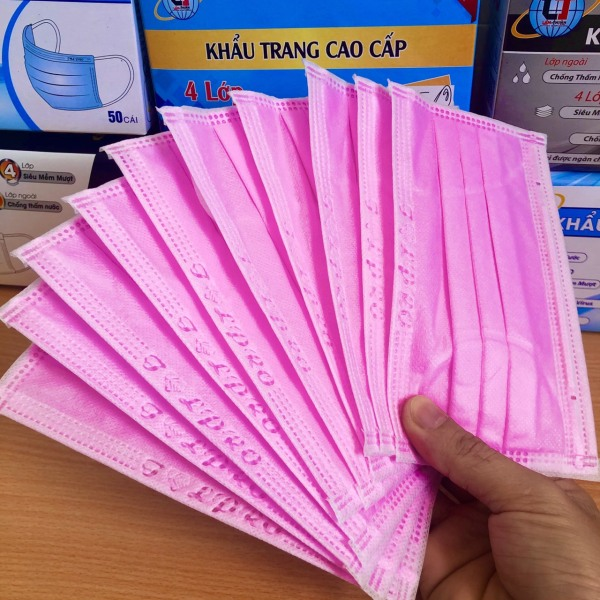 Giá bán Khẩu trang y tế 4 lớp, màu hồng, hộp 50 chiếc, DTA Store