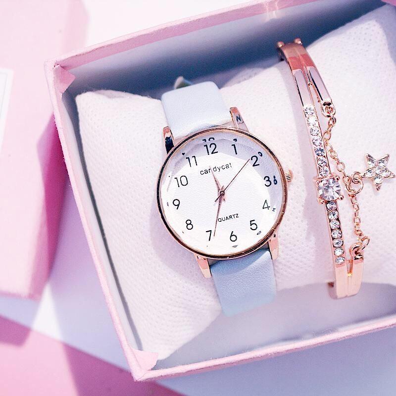 Nơi bán Đồng hồ thời trang nữ Candycat mặt số dây da mặt kính 3D V343
