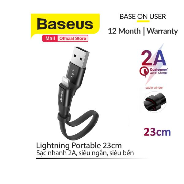 Cáp sạc và truyền dữ liệu Baseus Lightning Portable 23cm (2A Sạc nhanh Siêu ngắn Siêu bền)