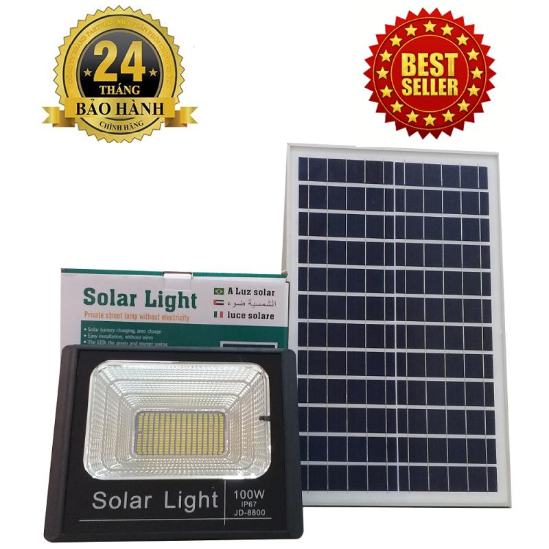 ĐÈN NĂNG LƯỢNG MẶT TRỜI SOLAR LIGHT JIDIAN JD-8800 công suất 100W công nghệ IP67 chống nước, Pin Lithium 30000mah, chế độ bật tắt tự động, có điều khiển từ xa