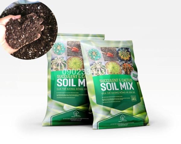 Soil Mix đất trộn hữu cơ chuyên trồng sen đá xương rồng bao 6kg