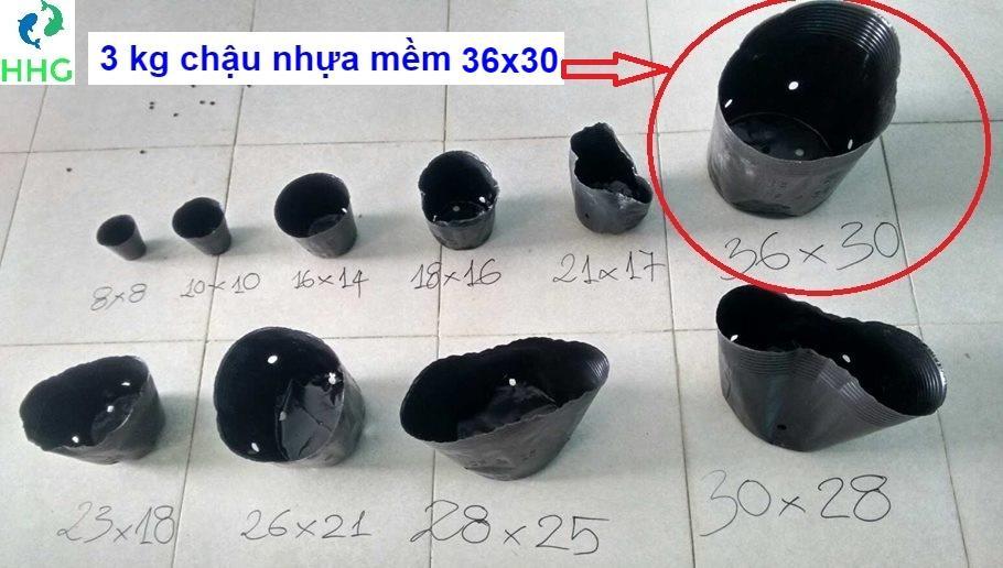 3KG CHẬU NHỰA MỀM ƯƠM CÂY (BỊCH, TÚI BẦU) 36X30, 3kg = khoảng 65 chậu 36x30