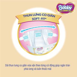 [QUÀ TẶNG KHÔNG BÁN] Hộp 2 miếng tã bỉm dán cao cấp Bobby Extra Soft Dry mă t bông siêu thâ m hu t (size M & size L) 4