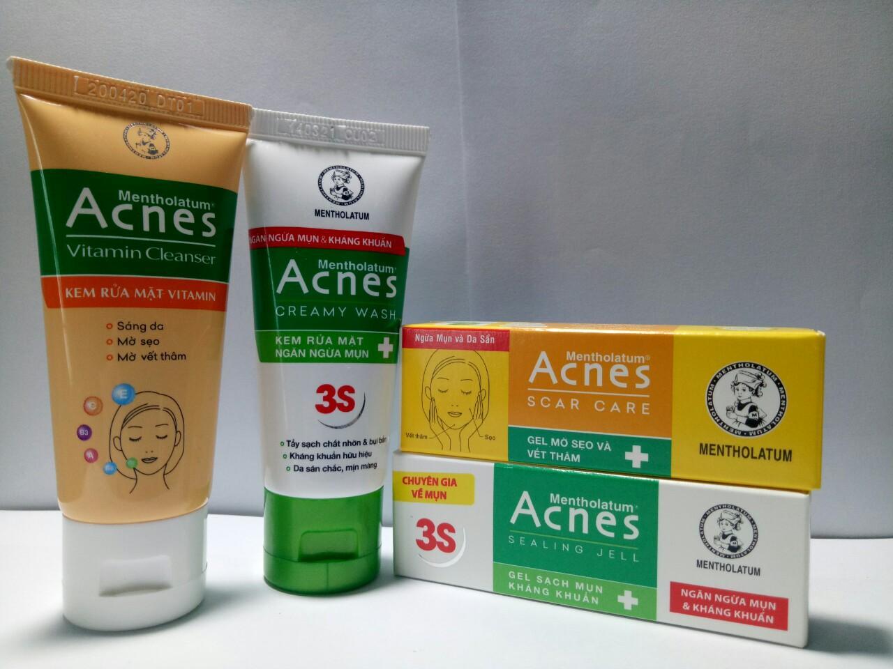 Trọn bộ 4 món trị mụn - tặng 5 gói sữa tắm dâu tằm 6g : 2tuýt sữa rửa mặt AcneS trị mụn 25g + 2tuýt Gell trị mụn 2g (HÀNG KM) nhập khẩu