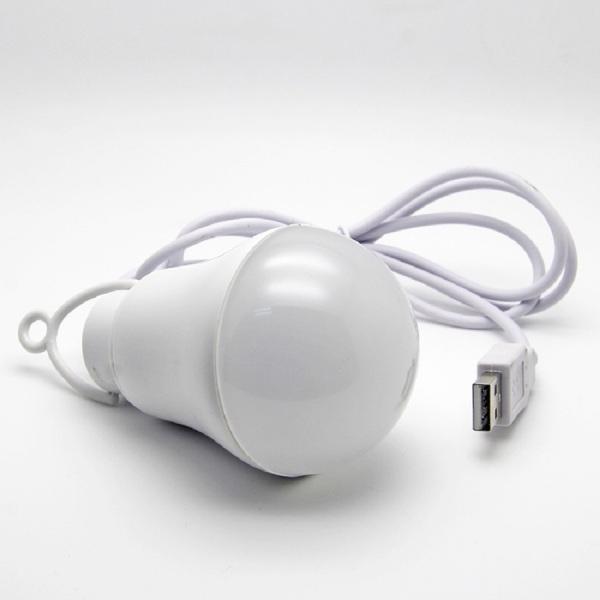 Bóng đèn Led Bulb USB siêu sáng 5W (ánh sáng trắng) siêu tiết kiệm, có móc treo đèn, dây cáp usb dài 1m tiện dụng