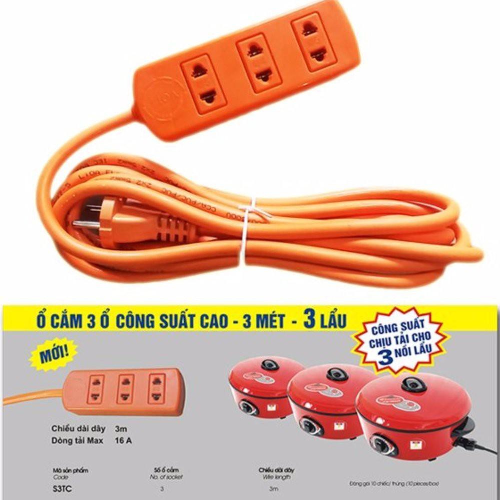 Bảng giá Ổ Cắm Điện LIOA 3 Ổ Công Suất Lớn Chịu Tải 3 Nồi Lẩu S3TC dây 3m