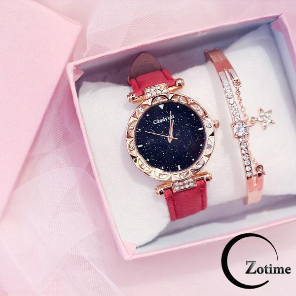 Nơi bán Đồng hồ nữ đeo tay đẹp Candycat dây da nhung đính cườm ZO20