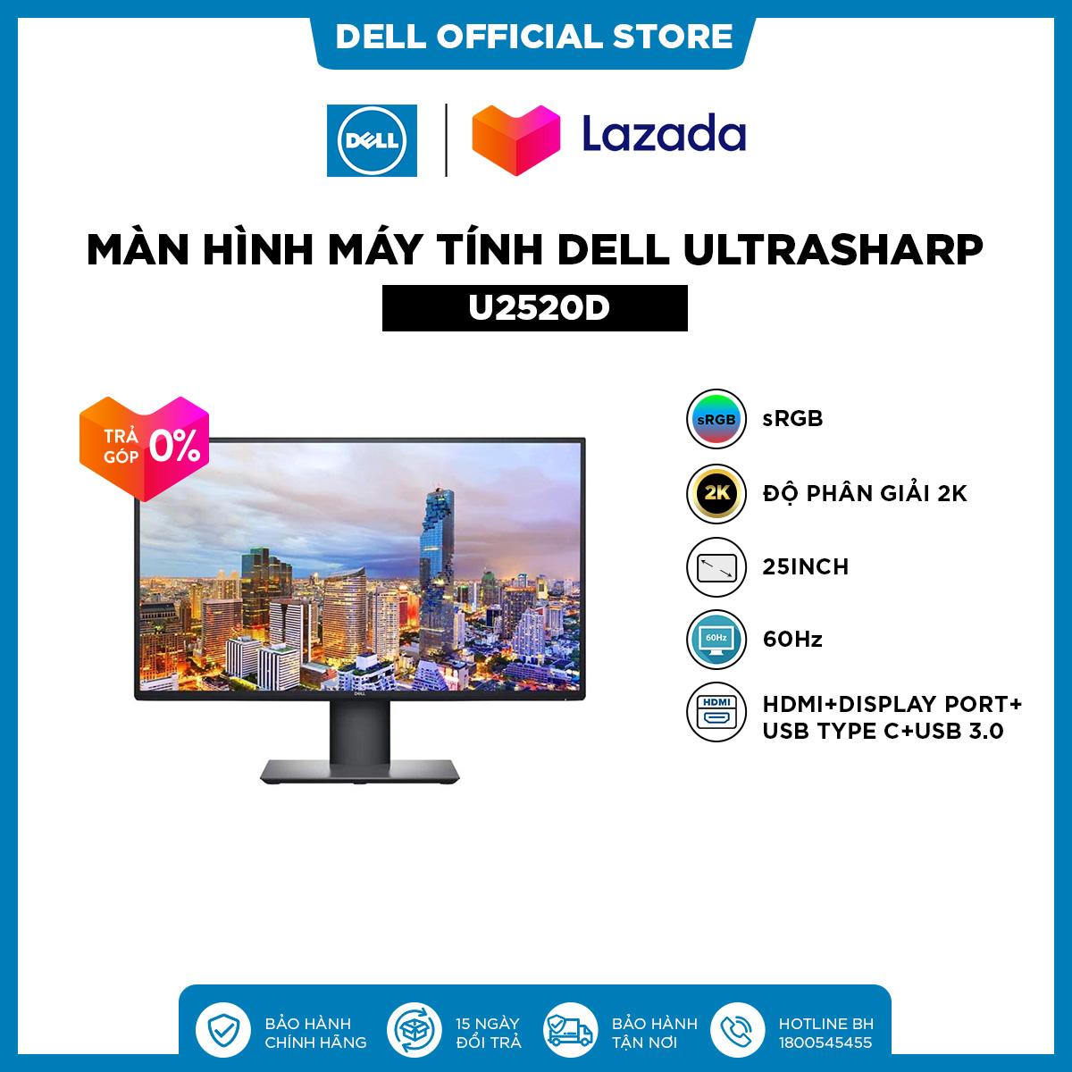TRẢ GÓP 0%|FREESHIP| Màn Hình Máy Tính Dell UltraSharp U2520D sRGB 25inch 2K IPS 60Hz 5ms HDMI+Display Port+USB Type C+USB 3.0