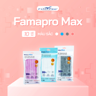 [Giá siêu rẻ] Khẩu trang y tế cao cấp 4 lớp kháng khuẩn Famapro max (10 cái túi ) thumbnail