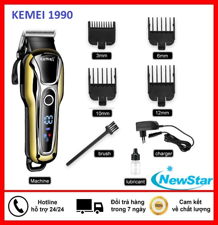 Tăng đơ , tông đơ cắt tóc gia đình không dây chuyên nghiệp Kemei KM 1990 giá rẻ