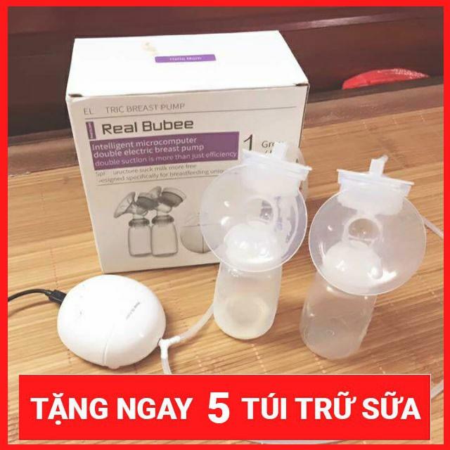 Ưu Đãi Giá cho (Tặng 5 Túi Trữ Sữa) Máy Hút Sữa điện đôi Real Bubee