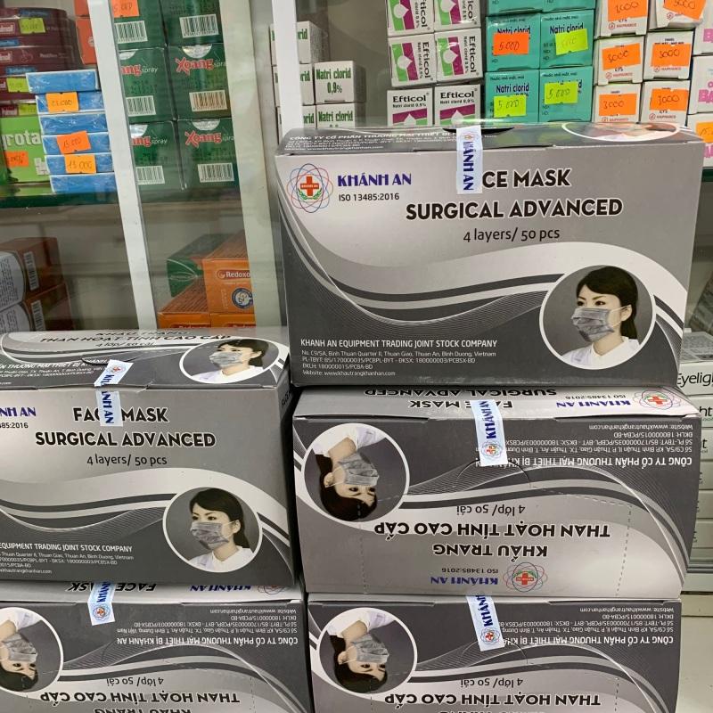 Khẩu trang y tế 4 lớp than hoạt tính kháng khuẩn Khánh An hộp 50 cái