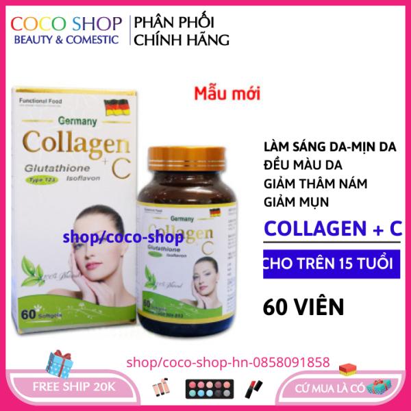 Viên uống trắng da collagen + C 60 viên - collagen ngăn ngừa lão hóa chống nám tàn nhang giá rẻ