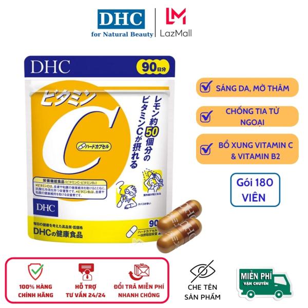 Viên uống đẹp da DHC  bổ sung Vitamin C Nhật Bản, giảm mụn thâm,  giúp gia trắng sáng, mịn màng, gói 180 viên