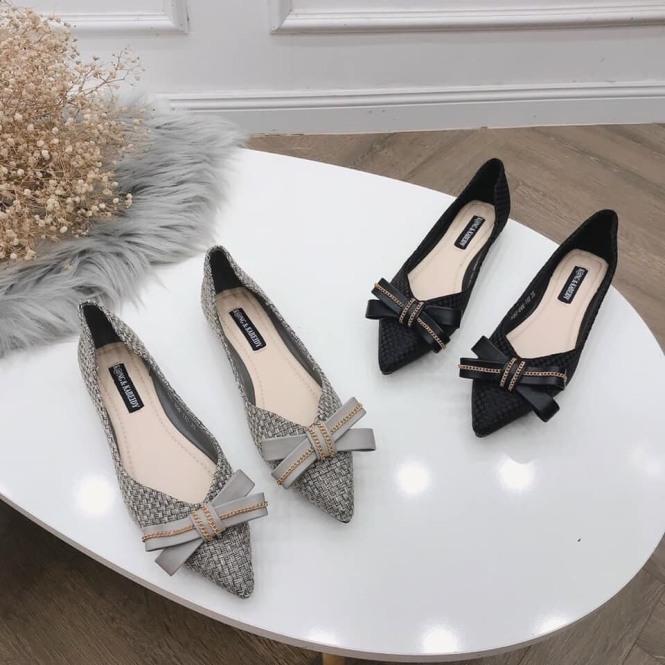 Giày búp bê nữ đế bệt thắt nơ 2 màu siêu hot giá rẻ
