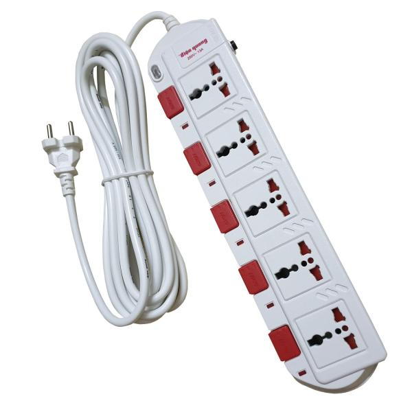 Ổ cắm Điện quang cao cấp ESK SM750SL -  5 ổ cắm 5 công tắc dây 5 mét công suất sử dụng cao 2800 watt - màu đen hoặc trắng