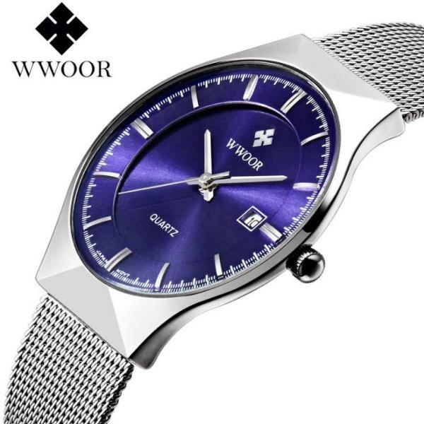 [HCM]Đồng hồ nam WWOOR 8016 máy mỏng dây thép không gỉ (M Xanh) bán chạy