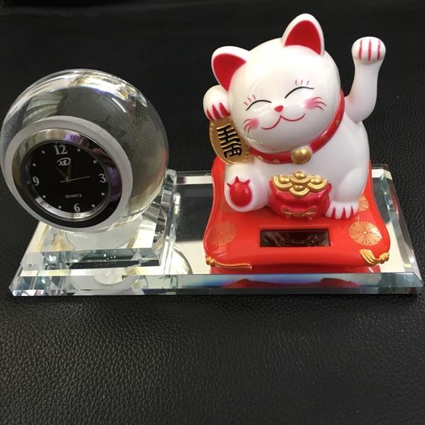 Tượng Mèo Thần Tài Vẫy Tay Mini Có Kèm Đồng Hồ Trang Trí Ô Tô Nhà Cửa Bàn Làm Việc