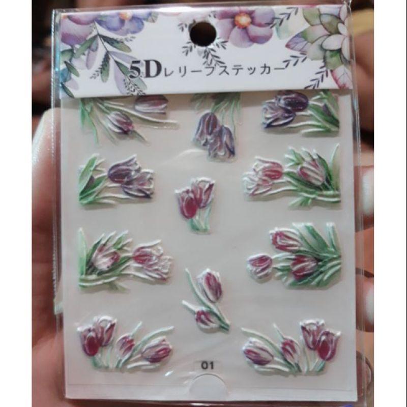 Hình Dán Hoa 5D Trang Trí Móng Tay Nghệ Thuật Siêu Hót