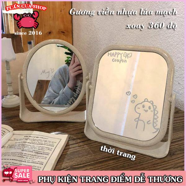 Gương trang điểm để bàn - Gương lúa mạch 2 mặt xoay, Gương trang điểm để bàn cute,   (GLM02)