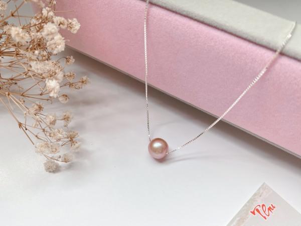 Dây Chuyền Bạc Ý Xuyên Viên Ngọc Trai Nước Ngọt 10mm Hương Thu Pearl DC78- Tím