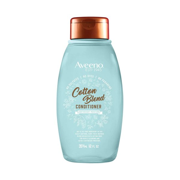Dầu xả tóc thiên nhiên Aveeno Cotton Blend Sulfate-Free Conditioner with for Light Moisture & Soothed Scalp 354ml (Mỹ)