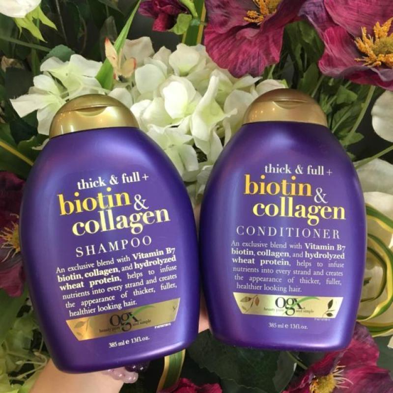Dầu Gội Xả Biotin & Collagen OGX 385ml - Phục Hồi Tóc Yếu, Tóc Gãy Rụng giá rẻ