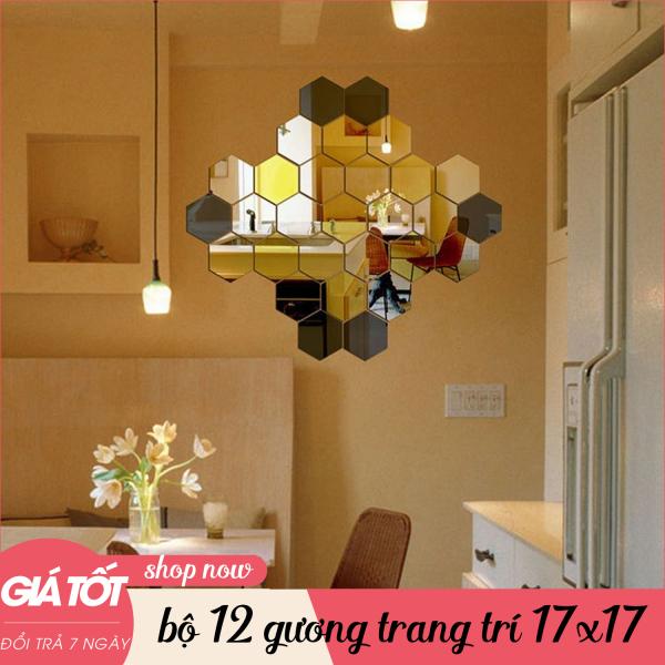 Gương dán tường, bộ 12 gương dán tường, kích cỡ 17cm x 17cm, gương dán tường trang trí phòng, gương trang trí, hình lục giác giá rẻ