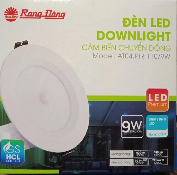 Đèn Led âm trần cảm biến D AT04L 110/9W PIR trắng Rạng đông