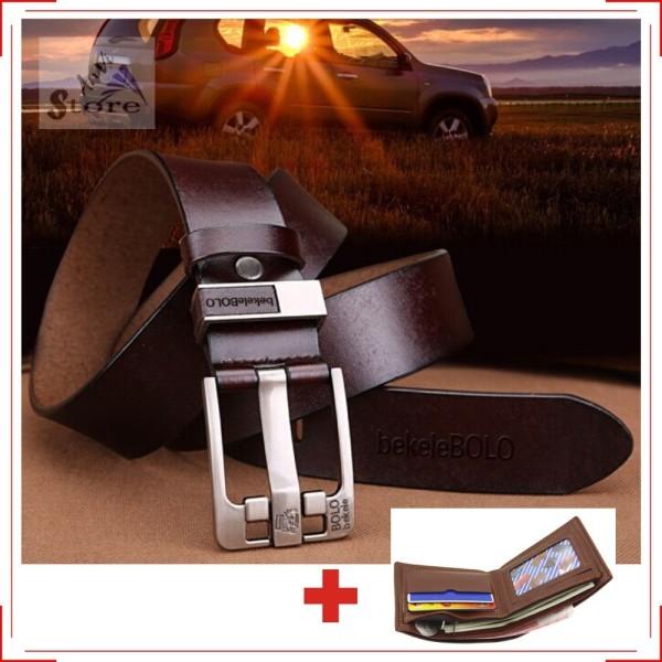 Thắt lưng nam cao cấp da thật tặng kèm ví da, chất lượng đảm bảo an toàn đến sức khỏe người sử dụng, mẫu mã đa dạng