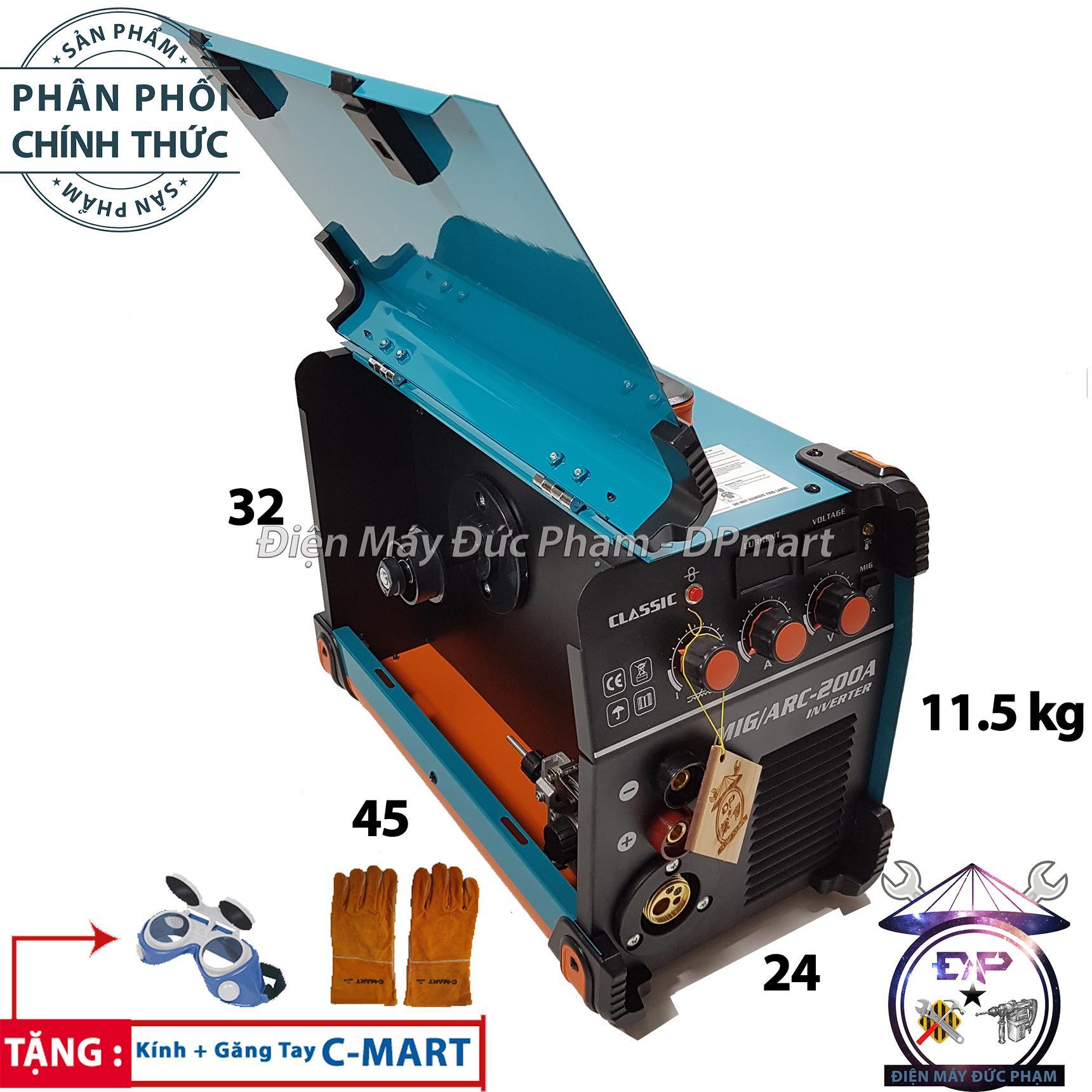 Máy hàn MIG Classic - Máy hàn điện tử inventer Classic MIG/ARC-200A ( Hàn hầu hết trên mọi vật liệu - hàn nhôm, Inox, sắt, đồng ...  )