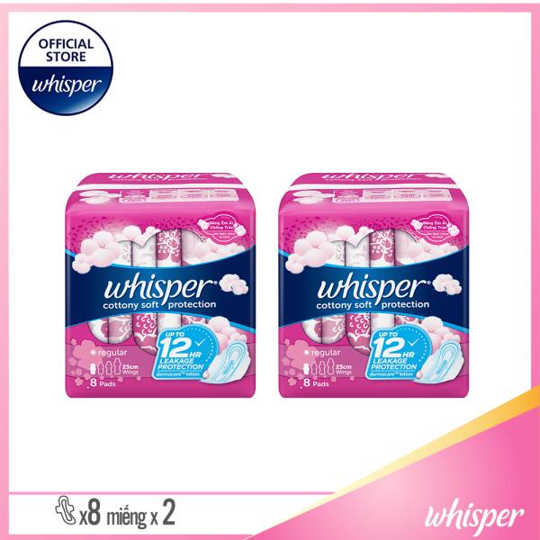 [Quà Tặng] Combo 2 Băng Vệ Sinh Whisper Cotton Có Cánh 8 Miếng Cho Ngày Thường giá rẻ