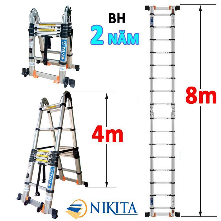 Thang nhôm rút đa năng 8,0m Nikita NKT-AID80 NEW 2019