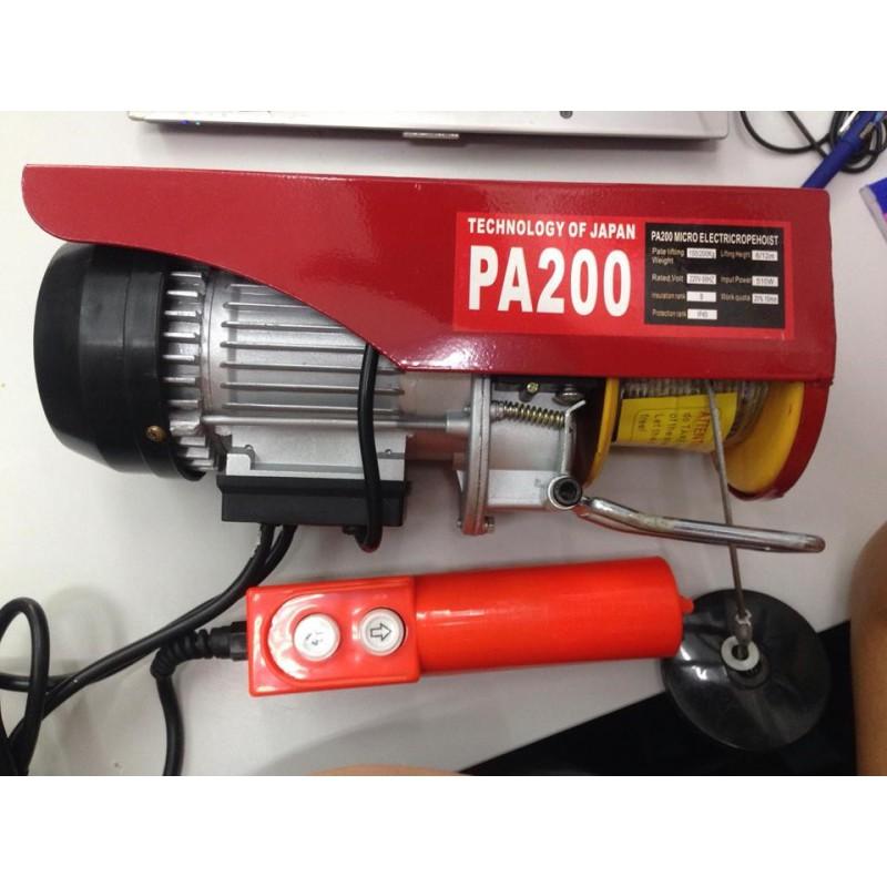 Máy tời điện PA200 tải trọng 100kG (200kG) dây cáp 20m Tời treo mini PA200