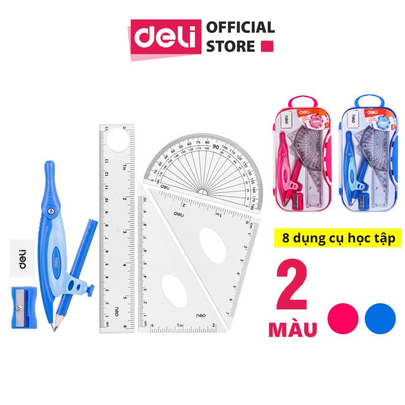 Mua Bộ compa Deli, hồng/xanh dương, gồm 8 dụng cụ/bộ - EG30204