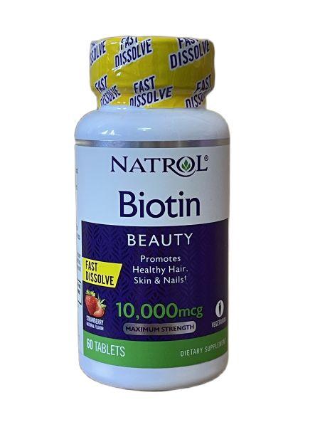 Viên ngậm Natrol Biotin 10,000 mcg Fast Dissolve Strawberry hỗ trợ mọc tóc, đẹp da móng tay 60 viên của Mỹ