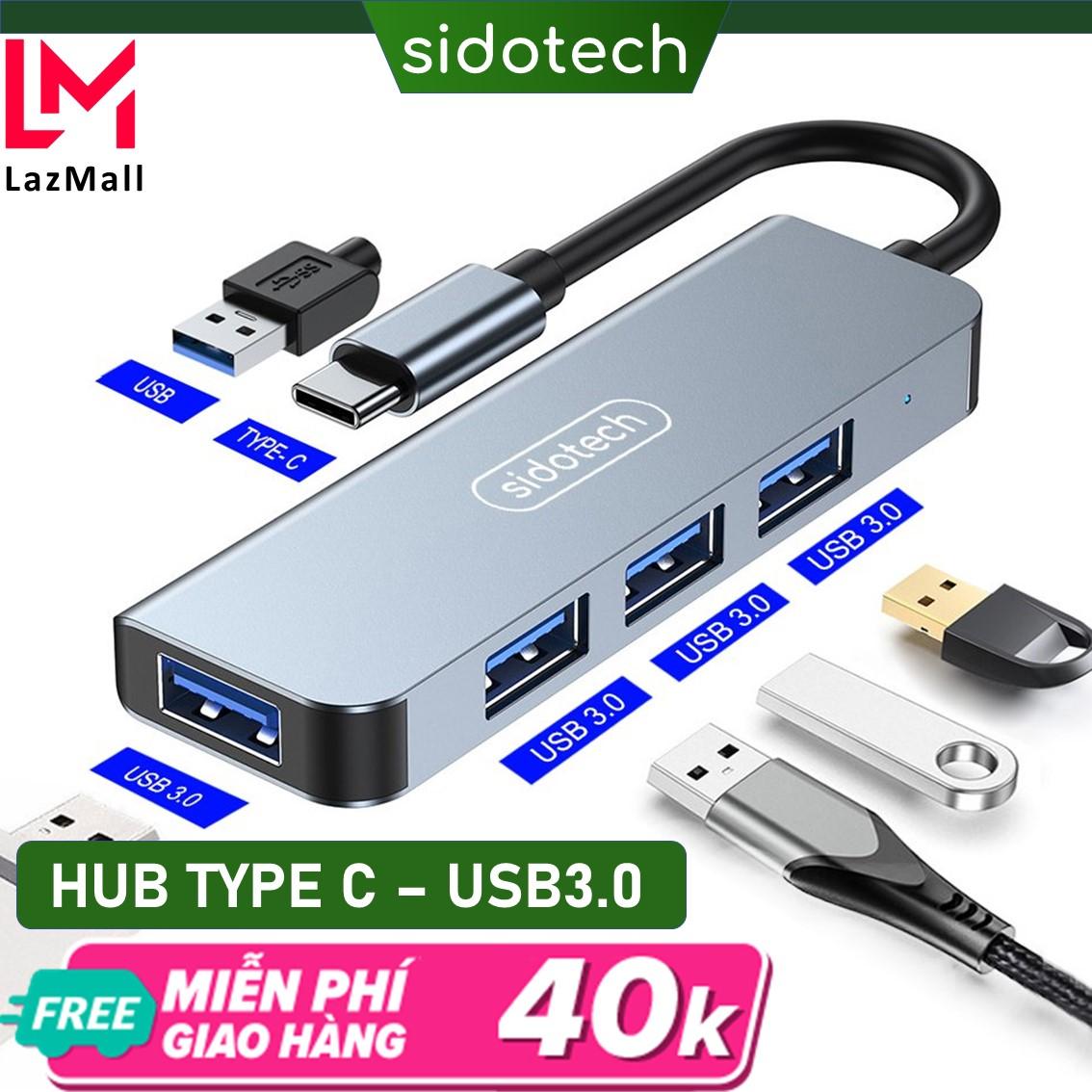 HUB Type C và HUB USB 3.0 tốc độ cao 4 in 1 Sidotech bộ chia cổng usb mở rộng kết nối chuyển đổi cho Macbook Pro Laptop PC hỗ trợ sạc pin kết nối đa năng ổ cứng bàn phím chuột máy in, thiết bị ổ chia usb - Hàng chính hãng