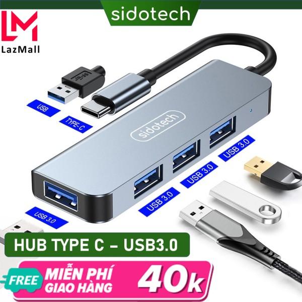 Bảng giá HUB Type C và HUB USB 3.0 tốc độ cao 4 in 1 Sidotech bộ chia cổng usb mở rộng kết nối chuyển đổi cho Macbook Pro Laptop PC hỗ trợ sạc pin kết nối đa năng ổ cứng bàn phím chuột máy in, thiết bị ổ chia usb - Hàng chính hãng Phong Vũ