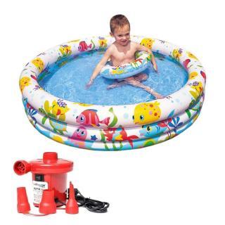Bộ bể bơi 3 tầng kèm phao và bóng cho bé tặng kèm bơm điện, bể bơi phao cho bé, bể bơi cho bé, bể bơi trẻ em, bể bơi phao 3 tầng thumbnail