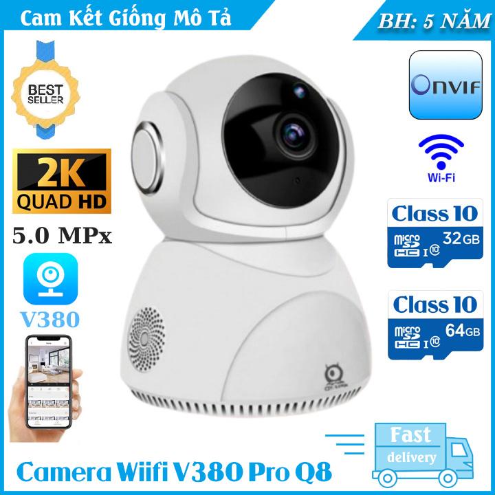(KÈM THẺ 64GB BẢO HÀNH 5 NĂM)Camera ip wifi xoay 360 độ V380 Pro Q8 5MPX nhận diện khuôn mặt ,Siêu Nét 2560 x 1440PXoay 360 độ Ghi âm ghi hình đàm thoại 2 chiềucảnh báo