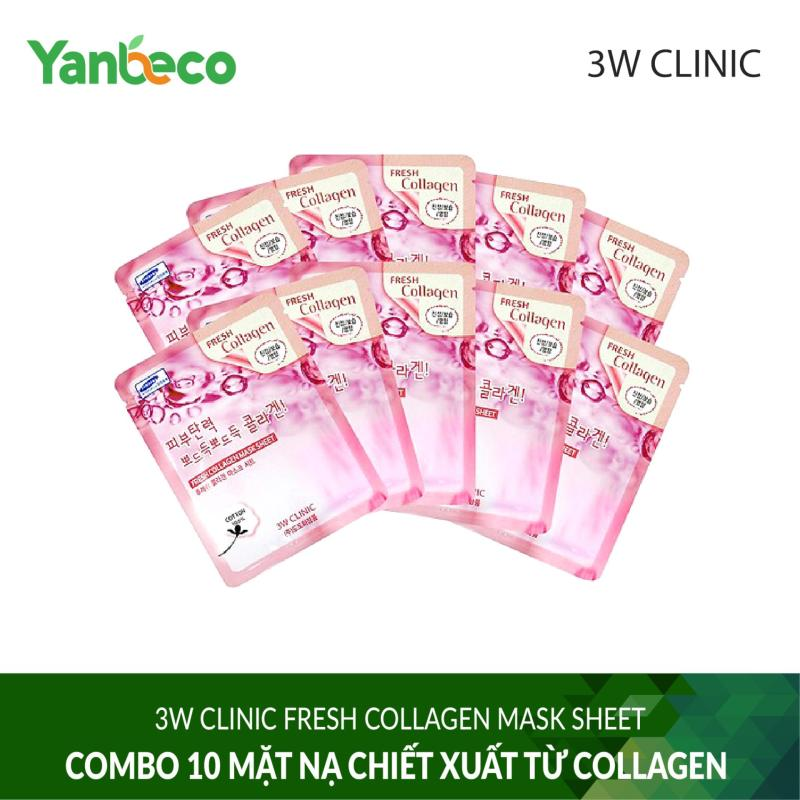 Combo 10 Mặt nạ chiết xuất từ Collagen 3W CLINIC FRESH COLLAGEN MASK SHEET