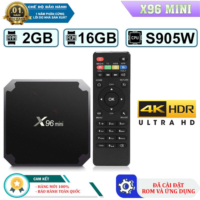 Android Tivi Box X96 Mini - Ram 2GB, Rom 16GB, Android 7.1-  3 phiên bản  ROM Gốc Và ROM ATV , Bản Pro Điều Voice  Tặng Kèm Chuột không dây  Bảo Hành 12 Tháng 1 Đổi 1