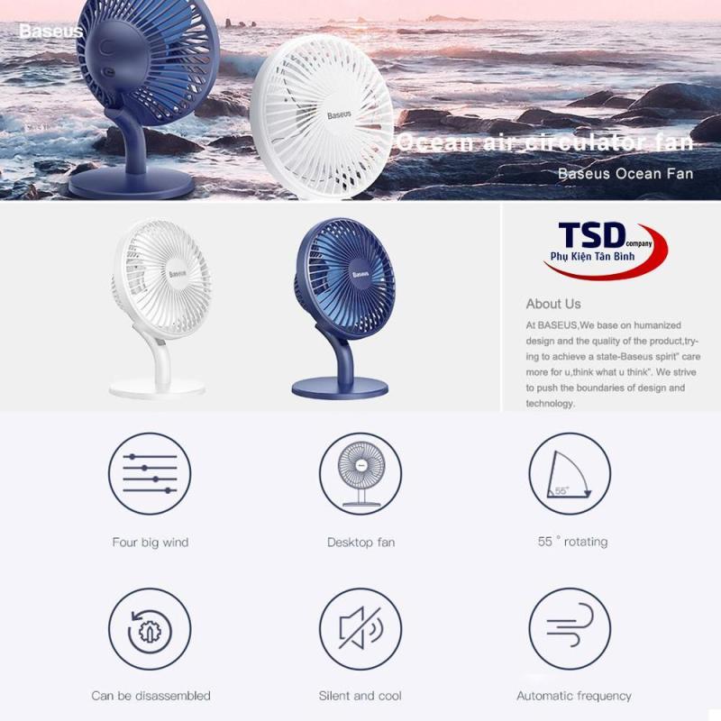 Quạt Mini Để Bàn Baseus Ocean Fan ( Pin sạc 2000mAh, 4 mức tốc độ )