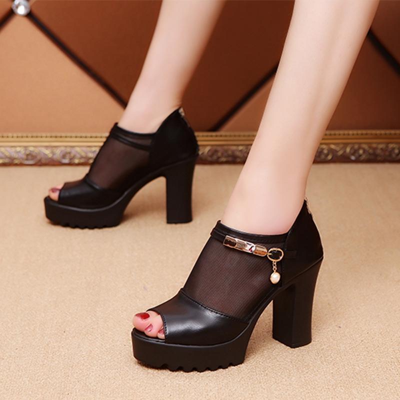 5092ac26c85 Sexy High Heels Peep-toe Sandals women 2019 Summer Western Style Gauze  Joint Sandals after